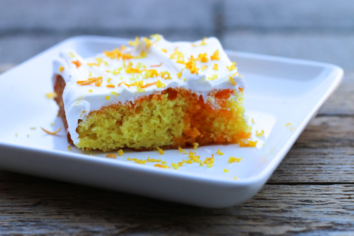 Allergy Friendly Creamsicle Poke Cake